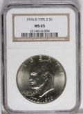Eisenhower Dollars: , 1976-D $1 Type Two MS65 NGC. NGC Census: (678/193). PCGS Population (1144/681). Mintage: 82,179,568. Numismedia Wsl. Price:...