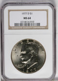 Eisenhower Dollars: , 1977-D $1 MS64 NGC. NGC Census: (94/1458). PCGS Population (492/999). Mintage: 32,983,006. Numismedia Wsl. Price: $9. (#742...