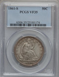 Seated Half Dollars: , 1861-S 50C VF35 PCGS PCGS Population (4/73). NGC Census: (1/68).Mintage: 939,500. Numismedia Wsl. Price for problem free N...