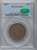 Large Cents: , 1847 1C XF45 PCGS CAC. PCGS Population (39/221). NGC Census:(15/457). Mintage: 6,183,669. Numismedia Wsl. Price for proble...