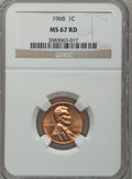 Lincoln Cents: , 1968 1C MS67 Red NGC. NGC Census: (20/0). PCGS Population (12/0).(#2905)...