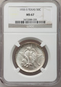 Commemorative Silver: , 1935-S 50C Texas MS67 NGC. NGC Census: (82/2). PCGS Population(99/1). Mintage: 10,000. Numismedia Wsl. Price for problem f...