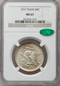 Commemorative Silver: , 1937 50C Texas MS67 NGC. CAC. NGC Census: (68/7). PCGS Population(84/2). Mintage: 6,571. Numismedia Wsl. Price for problem...