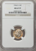 Roosevelt Dimes: , 1964-D 10C MS67 Full Bands NGC. NGC Census: (25/0). PCGS Population(12/1). Mintage: 1,357,517,184. Numismedia Wsl. Price f...