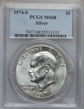Eisenhower Dollars: , 1974-S $1 Silver MS68 PCGS. PCGS Population (909/3). NGC Census: (135/1). Mintage: 1,900,156. Numismedia Wsl. Price for pro...