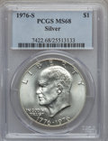 Eisenhower Dollars: , 1976-S $1 Silver MS68 PCGS. PCGS Population (427/0). NGC Census: (71/0). Mintage: 11,000,000. Numismedia Wsl. Price for pro...