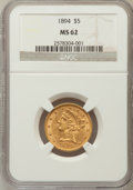 Liberty Half Eagles: , 1894 $5 MS62 NGC. NGC Census: (1154/758). PCGS Population(434/287). Mintage: 957,800. Numismedia Wsl. Price for problemfr...