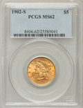 Liberty Half Eagles: , 1902-S $5 MS62 PCGS. PCGS Population (517/1196). NGC Census:(620/1172). Mintage: 939,000. Numismedia Wsl. Price for proble...