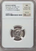 Ancients:Roman Imperial, Ancients: Maximian, first reign (AD 206-305). AR argenteus (20mm, 3.27 gm, 7h). ...