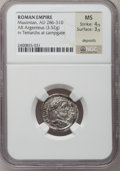 Ancients:Roman Imperial, Ancients: Maximian, first reign (AD 206-305). AR argenteus (19mm,3.52 gm, 12h). ...