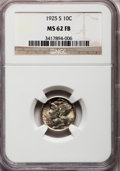 Mercury Dimes, 1925-S 10C MS62 Full Bands NGC. NGC Census: (7/111). PCGSPopulation (21/260). Mintage: 5,850,000. Numismedia Wsl. Pricefo...