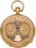 Timepieces:Pocket (pre 1900), Ami Richard 18k Gold & Enamel Key Wind, Original Box, circa1860. ...
