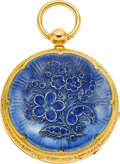 Timepieces:Pocket (pre 1900) , Montandon Brothers Enamel & Gold Key Wind, circa 1850. ...