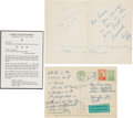 Autographs:Statesmen, Robert F. Kennedy Autograph Notes (2) Signed... (Total: 3 Items)