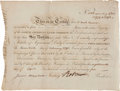 Autographs:Statesmen, Robert Morris North American Land Company Bond Signed...