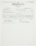 Autographs:U.S. Presidents, Ronald Reagan Consent for Use of Name As First Choice for thePresidency Form Signed...