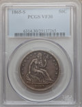Seated Half Dollars: , 1865-S 50C VF30 PCGS. PCGS Population (6/59). NGC Census: (3/49).Mintage: 675,000. Numismedia Wsl. Price for problem free ...