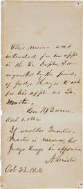 Autographs:U.S. Presidents, Abraham Lincoln Autograph Endorsement Signed...