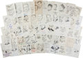 Autographs:Celebrities, Lot of Fifty-Eight Signed John Raitt Drawings of Men of Radio andTelevision....