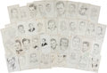 Autographs:Celebrities, Lot of Thirty-Nine Signed John Raitt Drawings of Hollywood Men....