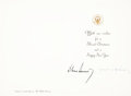 Autographs:U.S. Presidents, John F. Kennedy and Jacqueline Kennedy 1963 Presidential ChristmasCard Signed...
