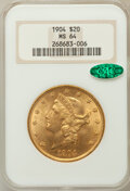 Liberty Double Eagles: , 1904 $20 MS64 NGC. CAC. NGC Census: (33275/6577). PCGS Population(30165/4260). Mintage: 6,256,797. Numismedia Wsl. Price f...