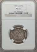 Seated Quarters, 1878-CC 25C VF25 NGC. NGC Census: (3/221). PCGS Population (9/261).Mintage: 996,000. Numismedia Wsl. Price for problem fre...