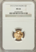 Commemorative Gold: , 1915-S G$1 Panama-Pacific Gold Dollar MS66 NGC. NGC Census:(610/60). PCGS Population (733/51). Mintage: 15,000. Numismedia...