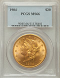 Liberty Double Eagles: , 1904 $20 MS66 PCGS. PCGS Population (140/2). NGC Census: (233/1).Mintage: 6,256,797. Numismedia Wsl. Price for problem fre...