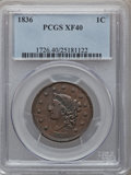 Large Cents: , 1836 1C XF40 PCGS PCGS Population (12/120). NGC Census: (3/147).Mintage: 2,111,000. Numismedia Wsl. Price for problem free...