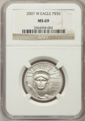 Modern Bullion Coins, 2007-W $50 Half-Ounce Platinum Eagle MS69 NGC. NGC Census: (0/0).PCGS Population (278/133). Numismedia Wsl. Price for pro...