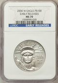 Modern Bullion Coins, 2006-W $100 Platinum Early Releases MS70 NGC. NGC Census: (0). PCGSPopulation (403). Numismedia Wsl. Price for problem fr...