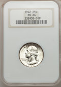 Washington Quarters: , 1942 25C MS66 NGC. NGC Census: (375/86). PCGS Population (217/22).Mintage: 102,117,120. Numismedia Wsl. Price for problem ...
