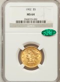 Liberty Half Eagles: , 1902 $5 MS64 NGC. CAC. NGC Census: (124/24). PCGS Population(82/28). Mintage: 172,400. Numismedia Wsl. Price for problem f...