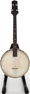Musical Instruments:Banjos, Mandolins, & Ukes, Unknown Brown Stain Tenor Banjo, Serial # 11671-13. ...