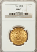 Liberty Eagles: , 1906-D $10 MS63 NGC. NGC Census: (592/175). PCGS Population(450/213). Mintage: 981,000. Numismedia Wsl. Price for problem ...