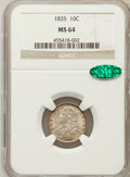 Bust Dimes: , 1835 10C MS64 NGC. CAC. NGC Census: (87/25). PCGS Population(62/17). Mintage: 1,410,000. Numismedia Wsl. Price for problem...