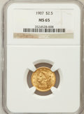 Liberty Quarter Eagles: , 1907 $2 1/2 MS65 NGC. NGC Census: (929/594). PCGS Population(1097/413). Mintage: 336,200. Numismedia Wsl. Price for proble...