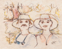 GEORGE RODRIGUE (American, b. 1944) Pair of Portraits Pastel on rice paper 17-3/4 x 22-1/4 inches