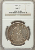 Seated Dollars, 1841 $1 AU55 NGC....