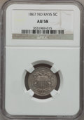 Shield Nickels: , 1867 5C No Rays AU58 NGC. NGC Census: (58/614). PCGS Population(66/572). Mintage: 28,800,000. Numismedia Wsl. Price for pr...
