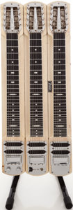 Musical Instruments:Lap Steel Guitars, Late 1950s Fender Stringmaster Blonde Triple Neck Lap Steel Guitar,Serial # 02116....