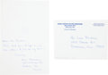 Autographs:Celebrities, Neil Armstrong: Autograph Note Signed with Original Hand-Addressed Envelope.... (Total: 2 Items)