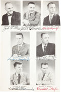 Autographs:Celebrities, Mercury Seven Astronauts: Photo Page from Martin Caidin's The Astronauts Book Signed by All, Directly from the...