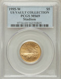 Modern Issues, 1995-W G$5 Olympic/Stadium Gold Five Dollar MS69 PCGS. Ex: US VaultCollection. PCGS Population (1668/167). NGC Census: (36...