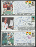 Baseball Collectibles:Others, 1984 and 1988 U.S. Olympic Baseball and Reds Team Signed First DayCovers Lot of 3....