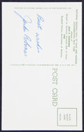 Baseball Collectibles:Others, Jackie Robinson Signed Hall of Fame Plaque Postcard. ...
