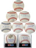 Baseball Collectibles:Balls, New York Yankees Greats Single Signed Baseballs Lot of 8....