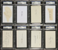 Baseball Collectibles:Others, Yankees Greats Signed Index Cards Lot of 8 - PSA Authenticated....