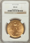 Saint-Gaudens Double Eagles: , 1913-D $20 MS64 NGC. NGC Census: (852/141). PCGS Population(1269/353). Mintage: 393,500. Numismedia Wsl. Price for problem...